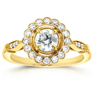 Annello by Kobelli 14k Yellow Gold 3/4ct TDW Round Diamond Antique Floral Engagement Ring