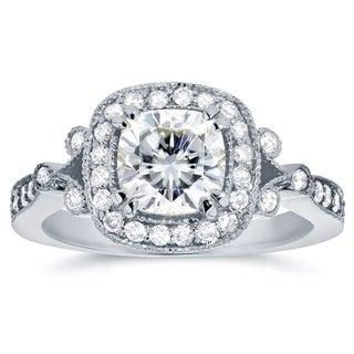 Annello by Kobelli 14k White Gold 1 1/2ct TGW Cushion-cut Moissanite (HI) and Diamond Halo Unique Engagement Ring