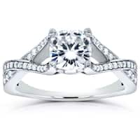 Annello by Kobelli 14k White Gold 1 1/3ct TGW Cushion-cut Moissanite and Diamond Open Shank Crossover Engagement Ring