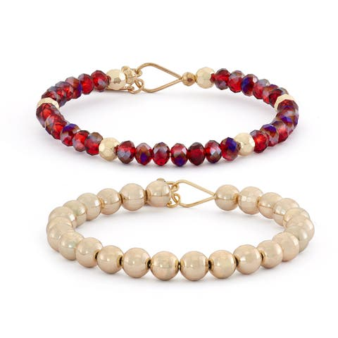Isla Simone 8mm 14 kt Gold Plated with Faceted and Polished Bead Bracelet Set