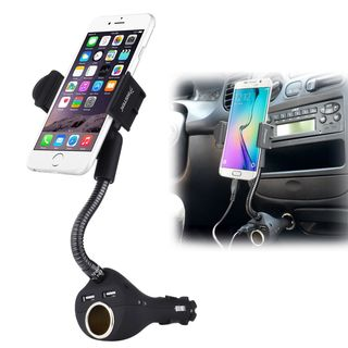 Insten Universal Dual Port USB Car Phone Holder Car Charger/ Socket for Apple iPhone XS/ XS Max/ XR/ X/ Samsung Galaxy Note 9