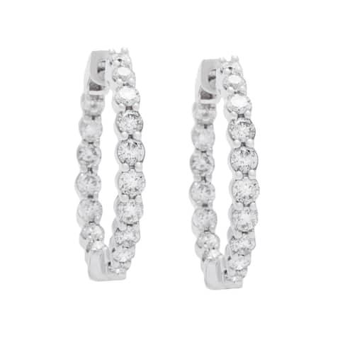 Boston Bay Diamonds 14k White Gold 1ct Diamond Inside-out Hoop Earrings (I, I1)