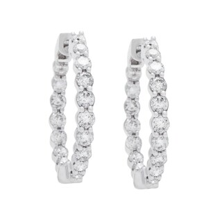 Boston Bay Diamonds 14k White Gold 1ct Diamond Inside-out Hoop Earrings (I, I1)