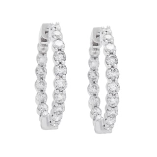 Boston Bay Diamonds 14k White Gold 1ct Diamond Inside-out Hoop Earrings (H-I, I1-I2)