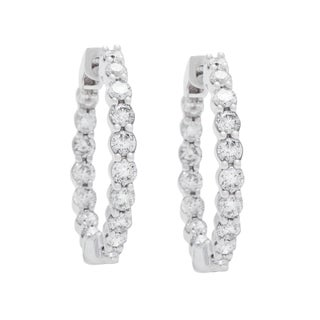 Boston Bay Diamonds 14k White Gold 1ct Diamond Inside-out Hoop Earrings (I, I1) - N/A