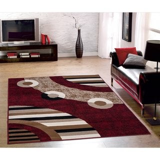 Sweet Home Stores Red Modern Circles Design Area Rug (8' x 10') - 8'2 x 9'10