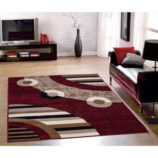 Sweet Home Stores Red Modern Circles Design Area Rug (8u0027 X 10u0027) Part 6