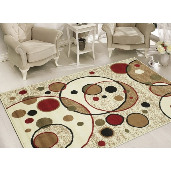 Sweet Home Stores Modern Beige Circles Area Rug - 8'2 x 9'10