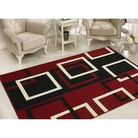 Sweet Home Modern Boxes Dark Red Area Rug - 8'2 x 9'10