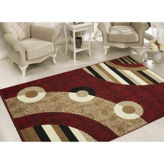 Sweet Home Modern Circles   Red Area Rug (5' x 7') - 5' x 7'