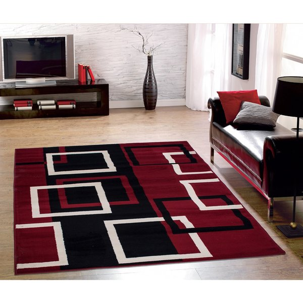 Sweet Home Modern Boxes Dark Red Area Rug 5 x 7 Free – Modern Area Rugs for Living Room