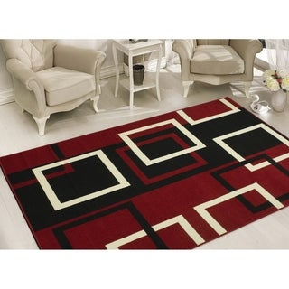 Sweet Home Stores Modern Boxes Dark Red Area Rug (5' x 7') - 5' x 7'