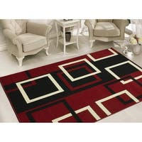 Sweet Home Stores Modern Boxes Dark Red/Black/White Geometric Area Rug (5' x 7')