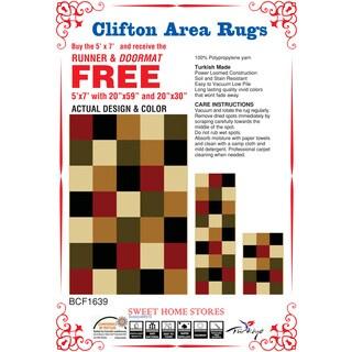 Sweet Home Modern Multi-colored 3-piece Area Rug Set (5' x '7 / 1'6 x 4'11 / 1'8 x 2'6)
