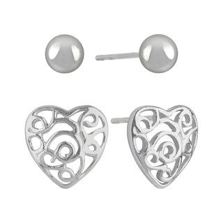 Sunstone Sterling Silver Filigree Heart Ball Stud Earrings Set
