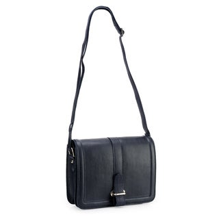 Phive Rivers Navy Leather Flap-over Crossbody Bag (Italy)