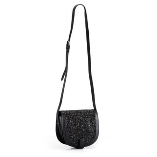 Phive Rivers Leather Black Glitter Crossbody Bag (Italy)