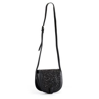 Handmade Phive Rivers Leather Black Glitter Crossbody Bag (Italy)