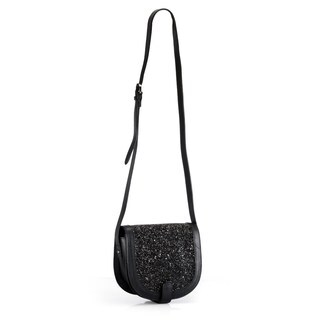 Handmade Phive Rivers Leather Black Glitter Crossbody Bag (Italy) - One size