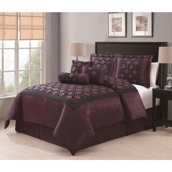 Elmery Plum/Black Flocking 7-piece Comforter Set