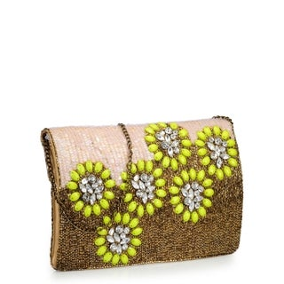 Phive Rivers Leather Beaded Flower Clutch (italy)