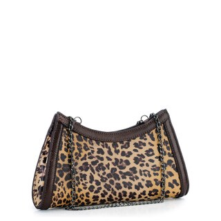 Phive Rivers Brown Leather Leopard Print Clutch (Italy)