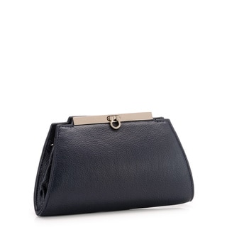 Phive Rivers Navy Leather Snap Clutch (Italy)