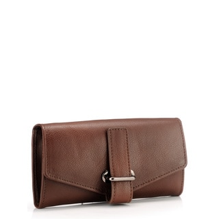 Phive Rivers Brown Leather Buckle Clutch (Italy)