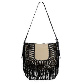 Phive Rivers Black Leather Fringe Clutch (Italy)