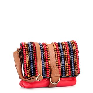 Phive Rivers Red Leather Multi Beaded Crossbody Bag (Italy)