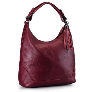 Handmade Phive Rivers Maroon Leather Hobo Bag (Italy)