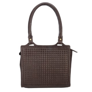 Phive Rivers Brown Leather Quilted Zip-top Handbag (Italy)