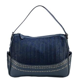 Handmade Phive Rivers Navy Leather Stud Handbag (Italy)