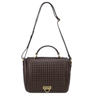 Phive Rivers Brown Leather Quilted Flap-over Handbag (Italy)