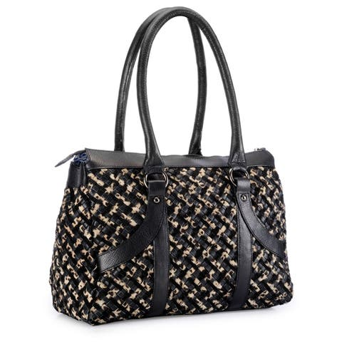 Handmade Phive Rivers Leather Leopard Criss-cross Pattern Handbag (Italy) - One size