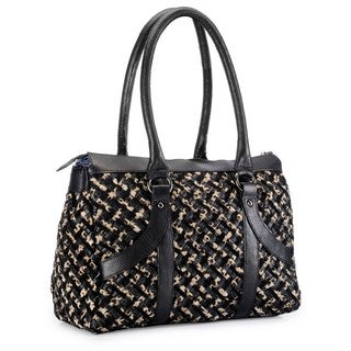Phive Rivers Leather Leopard Criss-cross Pattern Handbag (Italy)