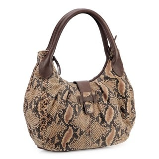 Phive Rivers Brown Leather Snakeskin Print Handbag (Italy)