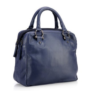 Phive Rivers Large Navy Leather Dual Compartment Handbag (Italy)