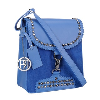 Phive Rivers Blue Pony Leather Flap-over Handbag (Italy)