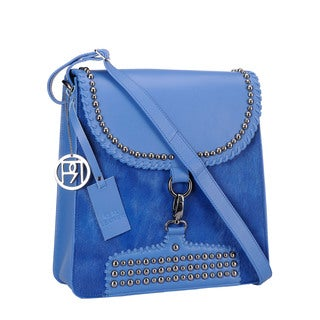 Phive Rivers Blue Pony Leather Flap-over Stud Handbag (Italy)