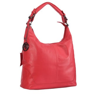 Phive Rivers Red Leather Top Zip Handbag (Italy)