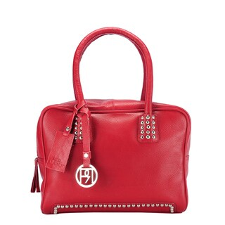 Handmade Phive Rivers Red Leather Studded Handbag (Italy) - One size