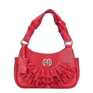 Phive Rivers Red Leather Ruffle Handbag (Italy)