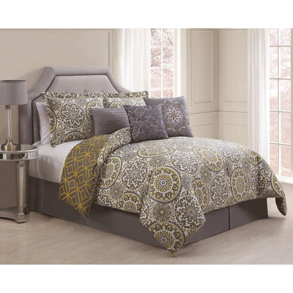 bedding comforter set jezebel grey yellow reversible 7 piece comforter set