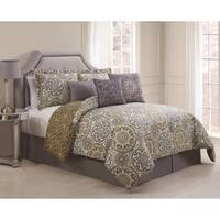 Jezebel Grey/Yellow Reversible 7-piece Comforter Set