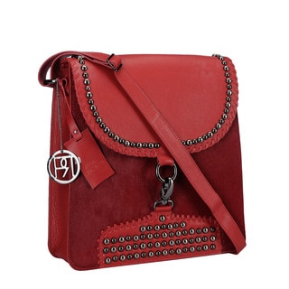 Phive Rivers Red Pony Leather Flap-over Handbag (Italy)