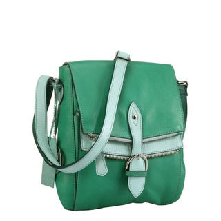 Phive Rivers Multi Green Leather Flap-over Handbag (Italy)
