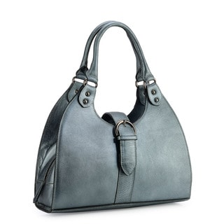 Phive Rivers Silver Leather Buckle Shoulder Bag (Italy)