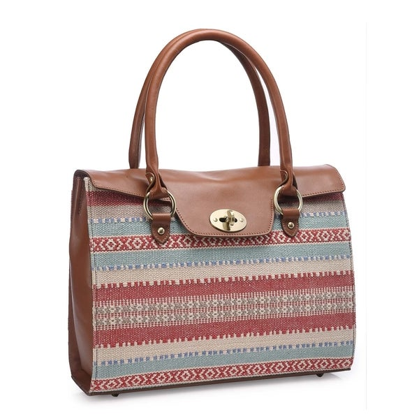 Handmade Phive Rivers Brown Leather Tribal Print Shoulder Bag (Italy) - One size
