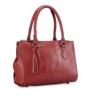 Phive Rivers Red Leather Embossed Flowers Shoulder Bag (Italy)